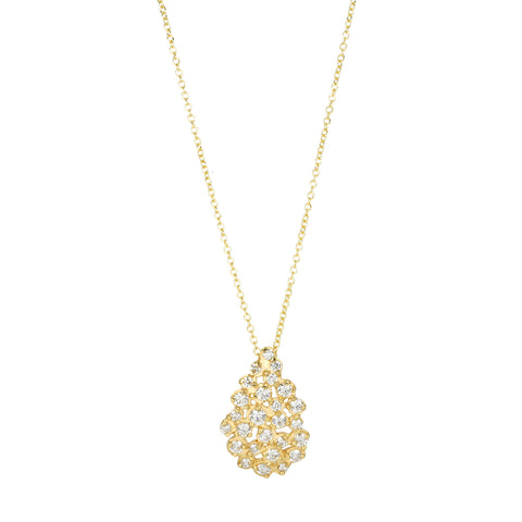 Gold and Diamond Teardrop Cluster Necklace
