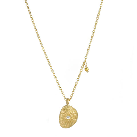 Anne Sportun Gold Organic Pendant Necklace with Diamond