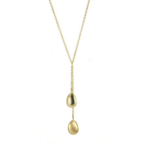 "Gold ""Petal"" Double Drop Necklace"
