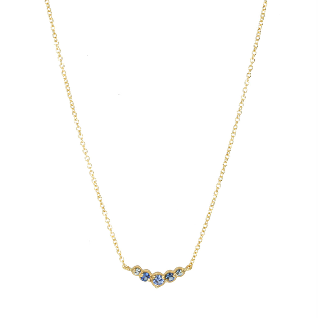 "Anne Sportun Gold Curved Graduated Blue Sapphire ""Festival"" Necklace"