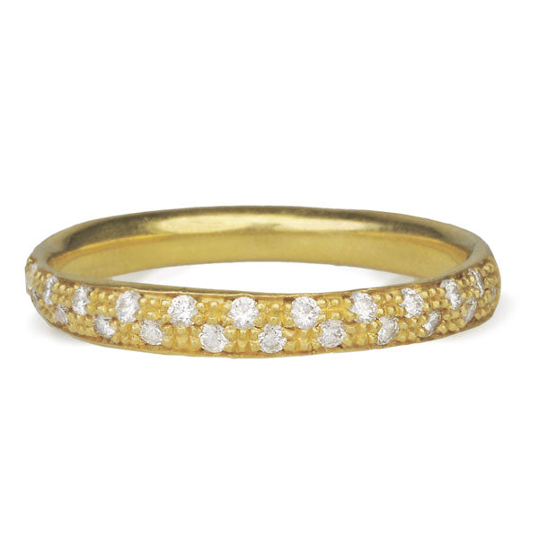 Gold and Half Scattered Pave Diamond Ring