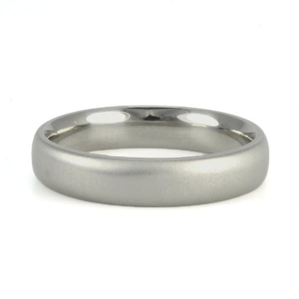 "Men's White Gold Medium Wide ""Comfort Fit"" Band"