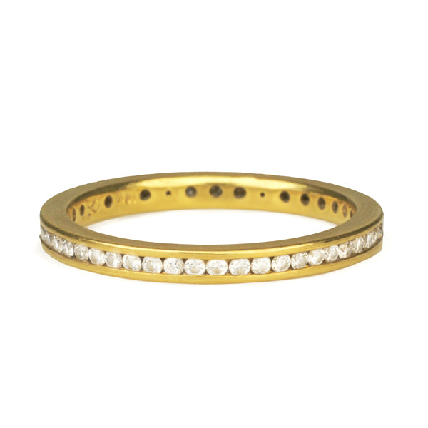 Gold and Channel-Set Diamond Ring