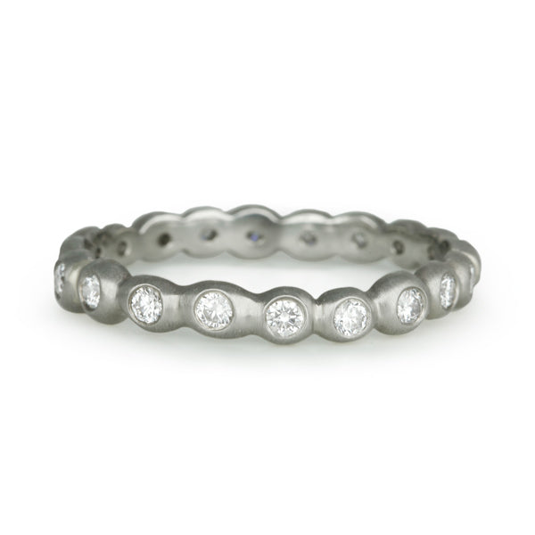 "White Gold and Diamond ""Seed Band"" Ring"
