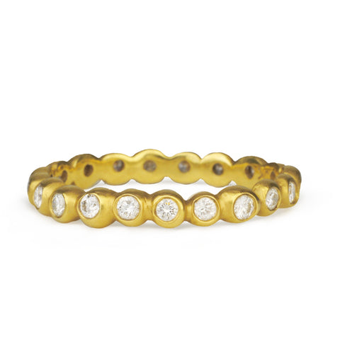 "Gold and Diamond ""Seed Band"" Ring"