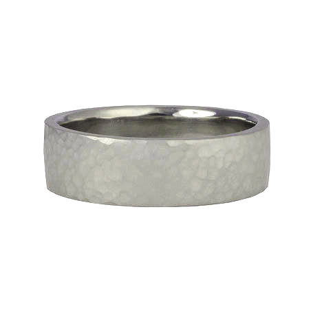 "Men's White Gold ""Straight Edge"" Hammered band"