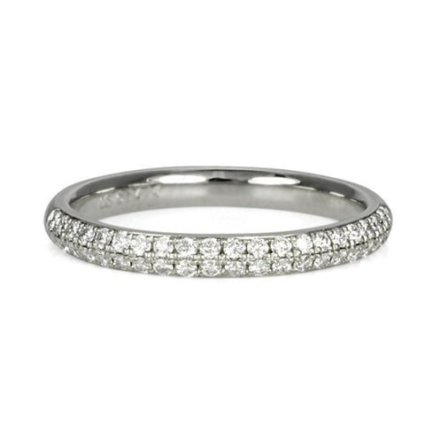 White Gold Double Row Half Pave Diamond Ring