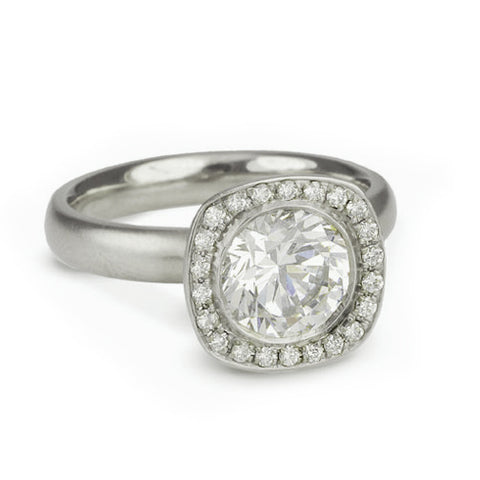 """Alexa"" Mount with Cushion Shape Pave Diamond Halo"