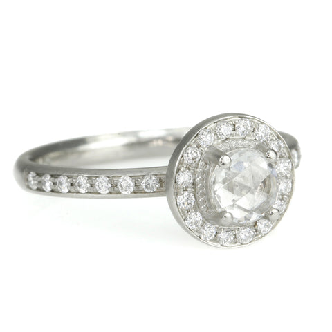 White Gold and Rose-Cut Diamond Ring