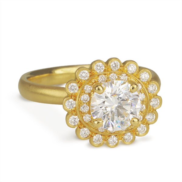 Gold Scalloped Mount with Double Pave Diamond Halo