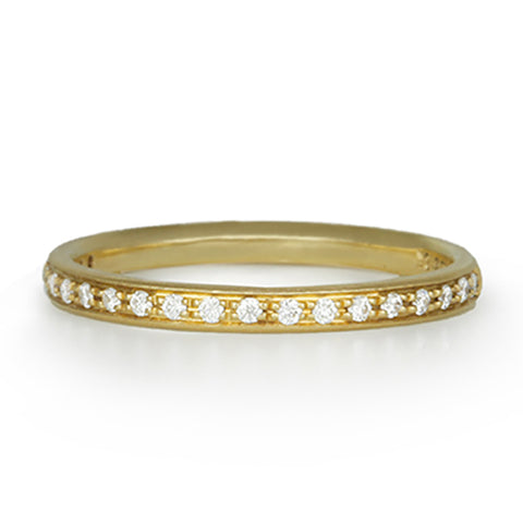 Gold Half Pave Diamond Ring
