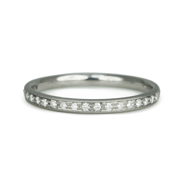 White Gold Half Pave Diamond Ring