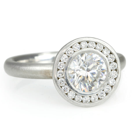 """Anne"" Mount with Channel-Set Diamond Halo"