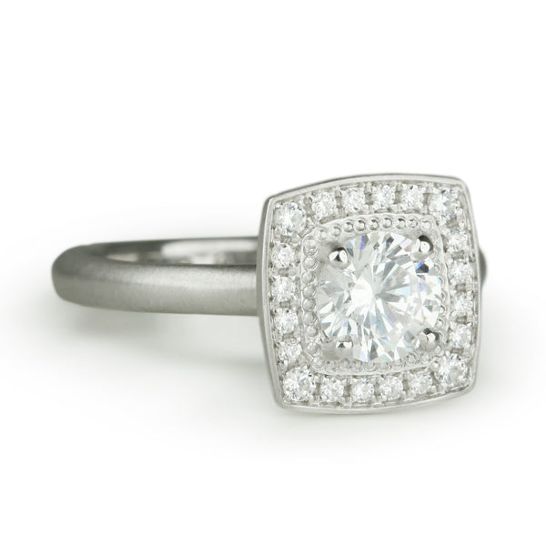 """Colette"" Mount with Square Pave Diamond Halo"