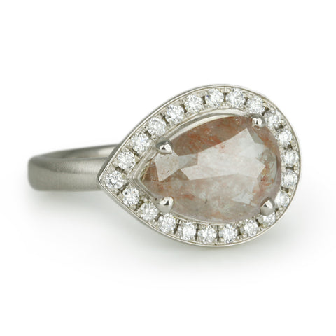 White Gold Pear-Shaped Cognac Diamond Ring with Pave Diamond Halo