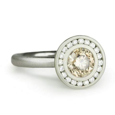 White Gold Cognac Diamond Ring with Channel-Set Diamond Halo