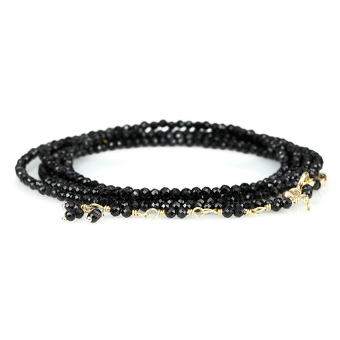 Anne Sportun Black Spinel Beaded Wrap Bracelet