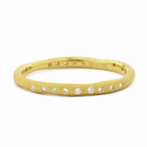 "Anne Sportun Thin Wavy ""Stardust"" Textured Band with Scattered Diamonds"