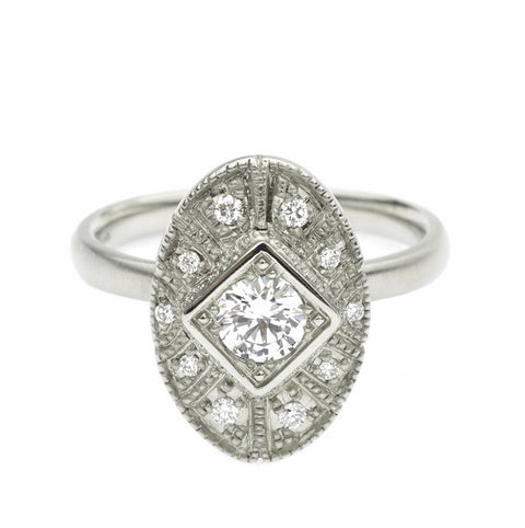 "White Gold and Diamond ""Claudette"" Oval Ring"