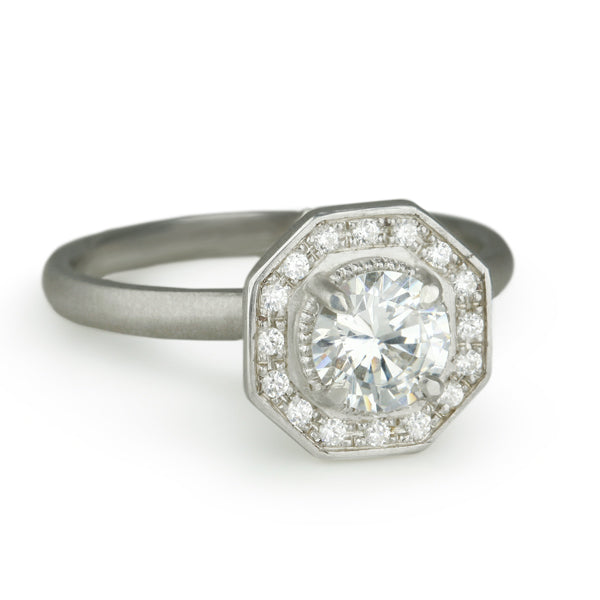 """Gabriella"" Mount With Octagonal Pave Diamond Halo"