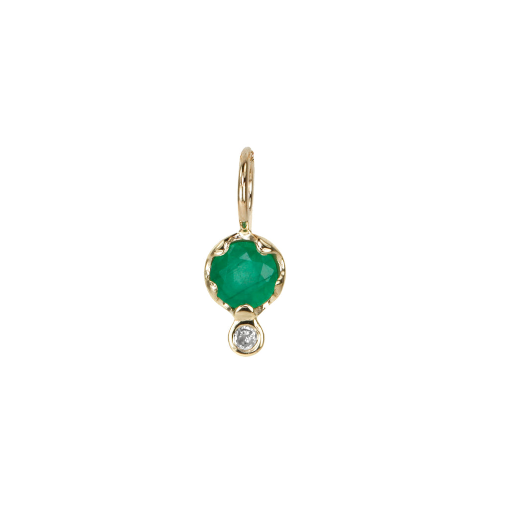 10K Gold Emerald and Diamond Charm