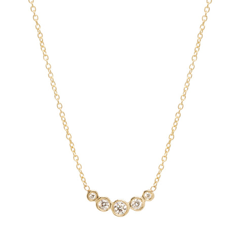 Gold and Five Graduated Diamond Necklace