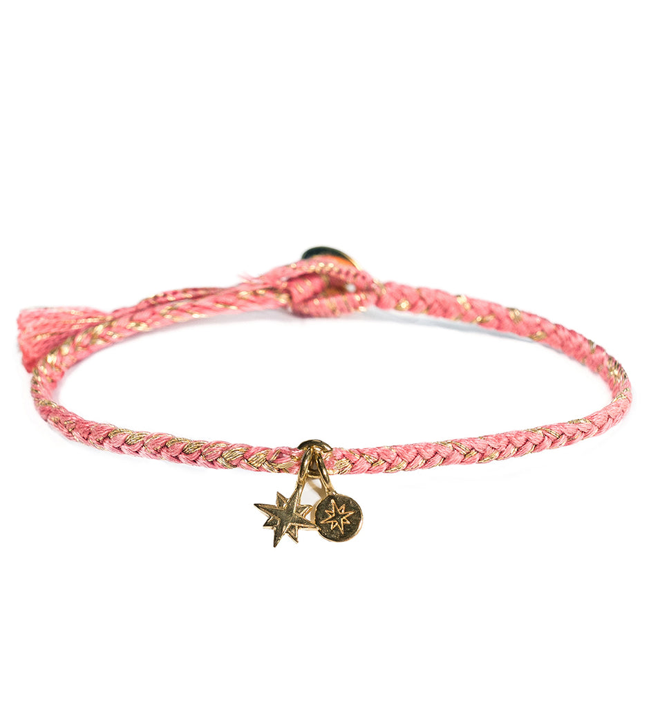 Guava Bracelet with Compass and Starburst Charms