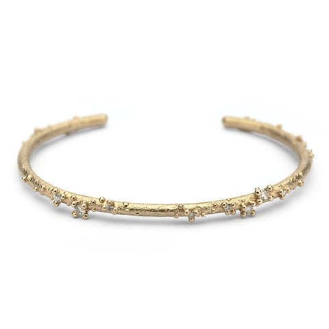 Gold and Diamond Granulated Cuff Bracelet