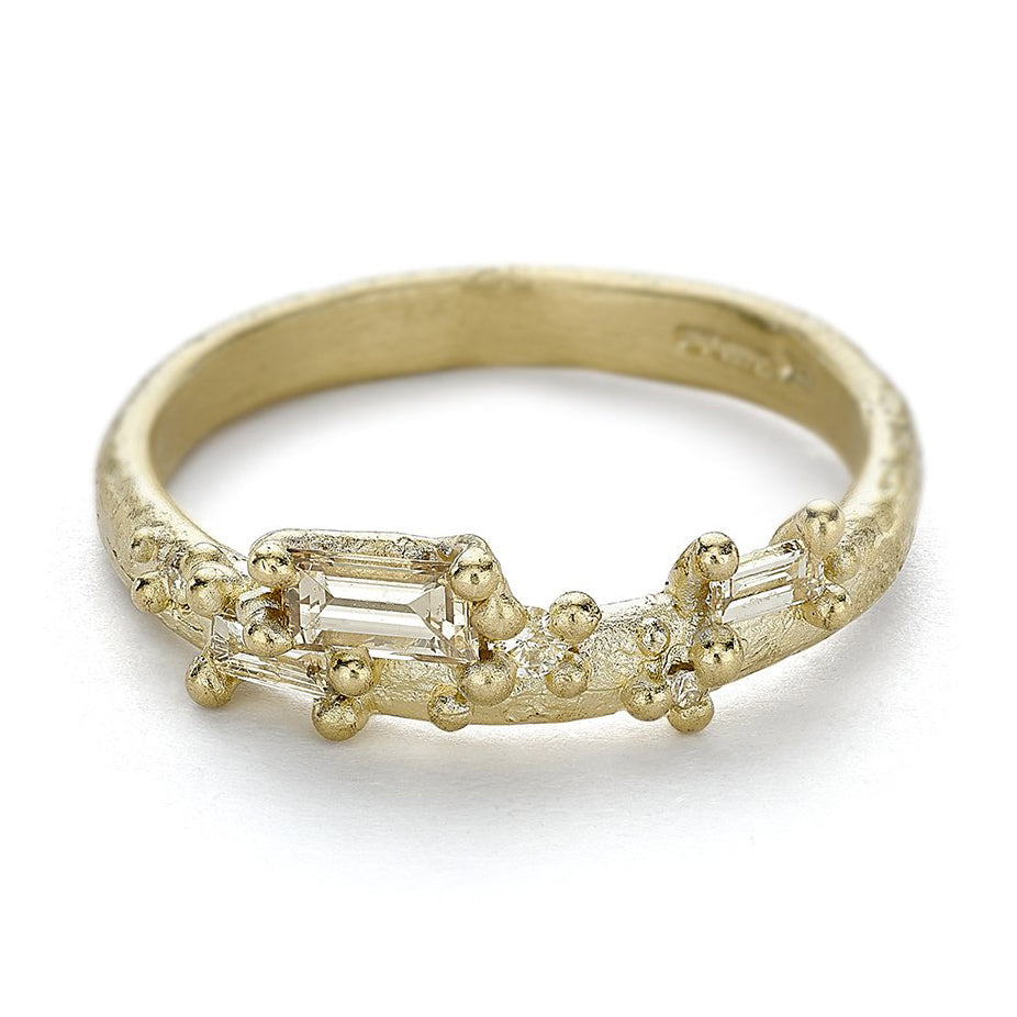 "Ruth Tomlinson Gold ""Half Round"" Band with Mixed-Cut Champagne and White Diamonds"