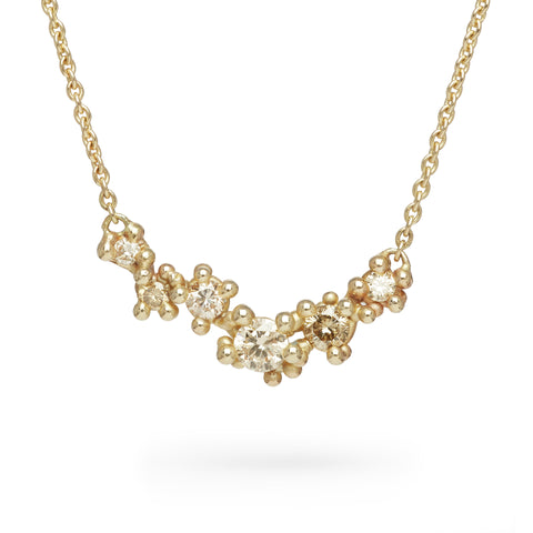 Ruth Tomlinson Gold and Champagne Diamond Cluster Bar Necklace