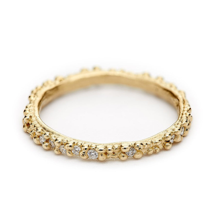 Gold Double Beaded Band with Scattered White Diamonds