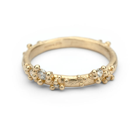 Gold and Diamond Ring with Granulation