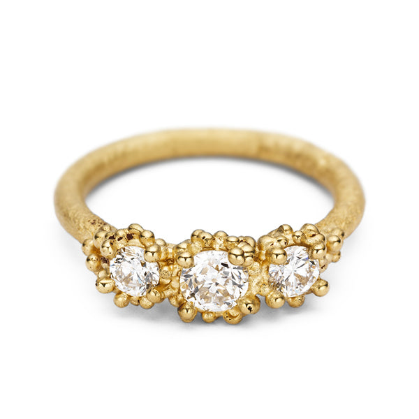Gold and Three Stone Antique Diamond Ring with Granulation