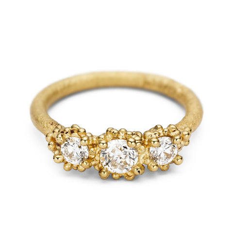Gold and Three Stone Champagne Diamond Ring with Granulation