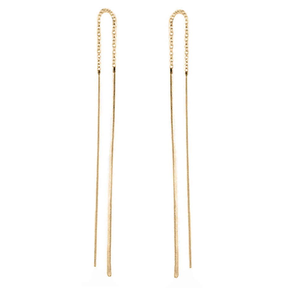 Gold Pull Through Bar Threader Earrings