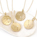 "Gold ""Zodiac - Taurus"" Hammered Disc Drop Necklace with Single Diamond"