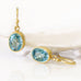 Gold Bezel-Set Oval Natural Blue Zircon Earrings