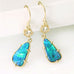 Gold Rock-Opal Drop Earrings