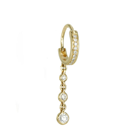 Jacquie Aiche Gold 3-Diamond Drop Hoop Earring