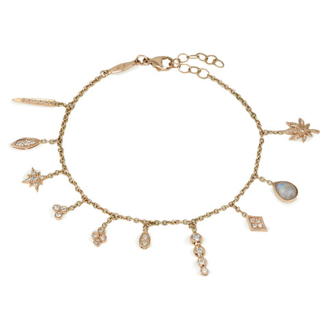 "Jacquie Aiche Rose Gold and Diamond ""Shaker"" Charm Bracelet"