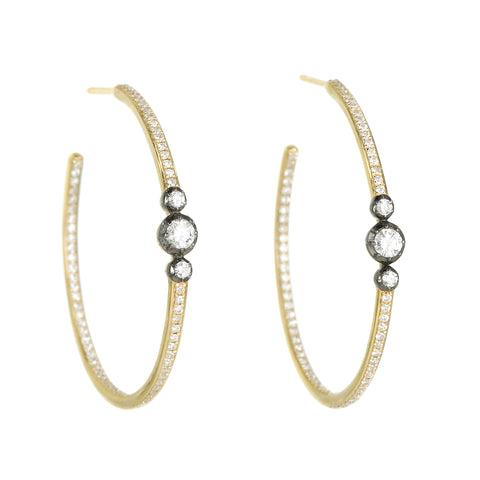 Jacquie Aiche Large Pave Diamond Hoop Earrings with Blackened Mine-Cut Diamonds