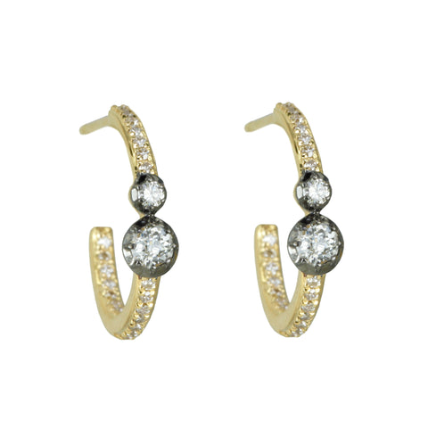 Pave Diamond Hoops with Blackened Mine-Cut Diamonds