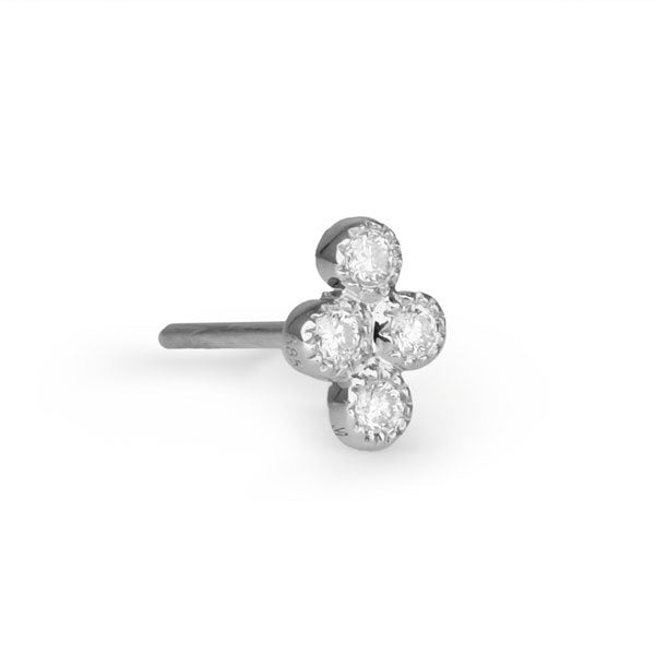 "Jacquie Aiche White Gold and Four Diamond ""Cluster"" Post Earring"