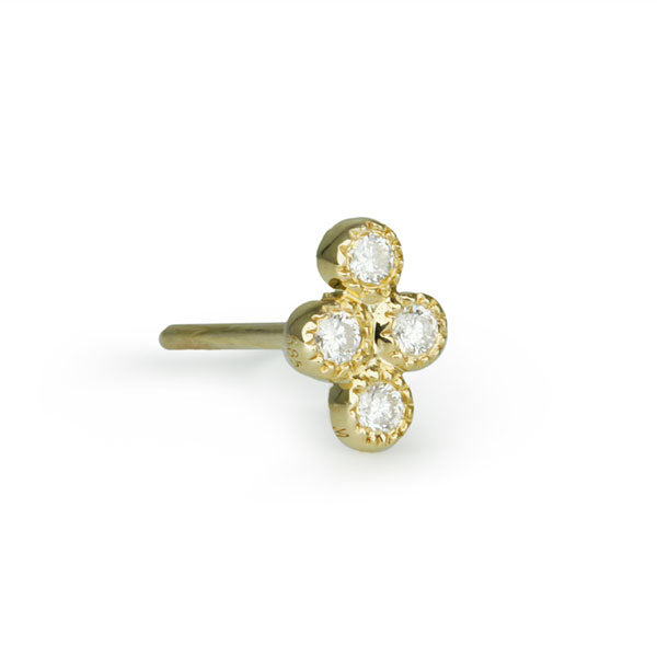 "Gold and Four Diamond ""Cluster"" Post Earring"