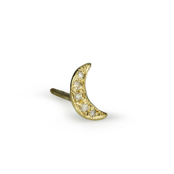 Jacquie Aiche 14 Karat Yellow Gold Crescent Stud Earring with Pave Diamonds (0.03 tcw)