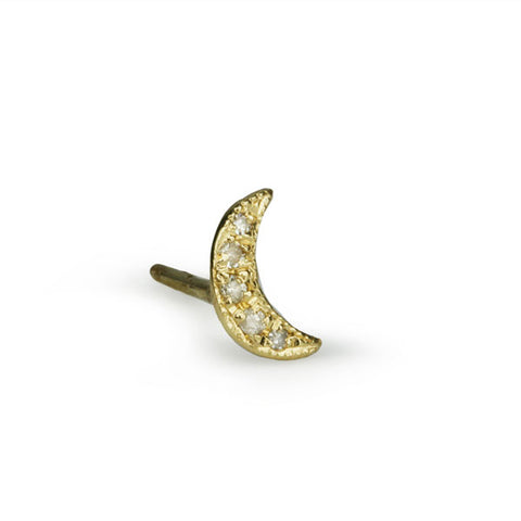 Gold Crescent Stud Earring with Pave Diamonds