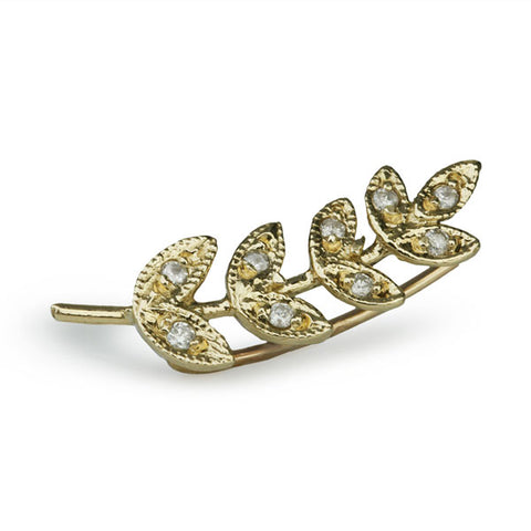 "Jacquie Aiche Gold and Diamond ""Leaf"" Climber Earring"