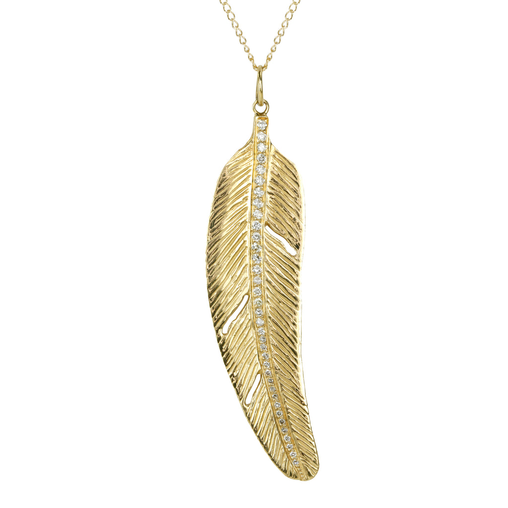 "Gold and Diamond ""Feather"" Pendant"