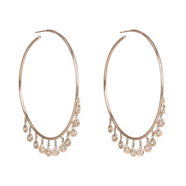 "Rose Gold and Diamond Large ""Shaker"" Hoop Earrings"
