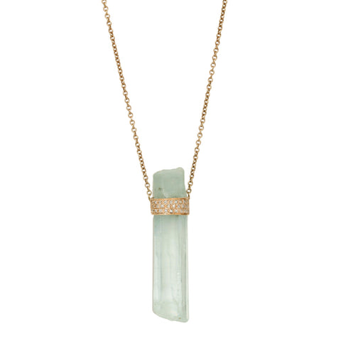 Jacquie Aiche Rose Gold Aquamarine Crystal Necklace with Diamonds